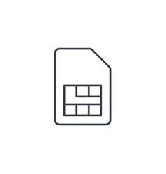 sim card thin line icon linear symbol vector image vector image