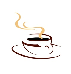 Steaming hot cup of aromatic coffee vector