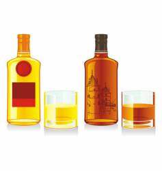 whiskey bottles and glasses vector image vector image