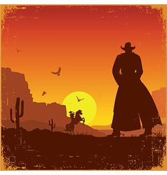 Wild west american landscape western poster vector