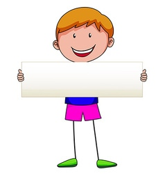 Boy holding white sign vector image vector image