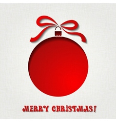 Christmas paper card with balls and ribbon vector image