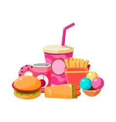 Fast Food Collection Colorful vector image