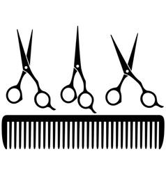 set of professional scissors vector image vector image