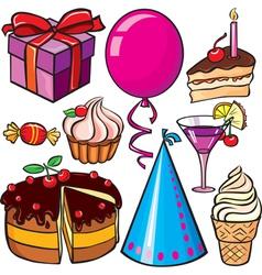Birthday icon set vector image