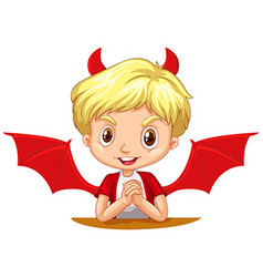 Boy with devil horns and wings vector image vector image