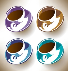 Four colorful coffee cups vector image
