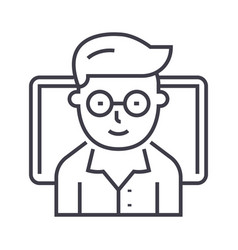 teacher online study with notebook line vector image