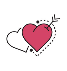 two heart and arrow pink vector image