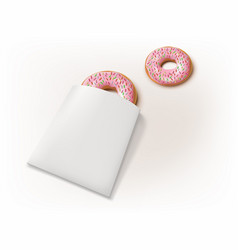 3d realistic donut with sprinkles paper packaging vector