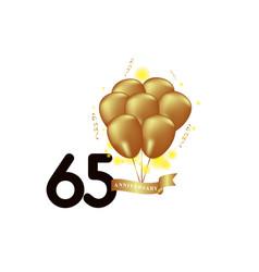 65 year anniversary black gold balloon template vector