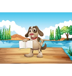 A dog holding an empty book standing at the port vector image
