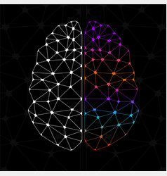 Abstract geometric brain of left and right vector