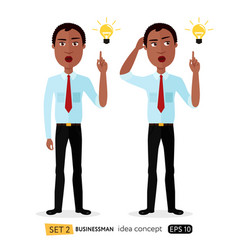 african american cartoon business man get vector image