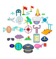 Air flight icons set cartoon style vector