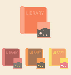 Ancient library books set vector