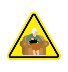 attention grandmother caution old woman and cat vector image