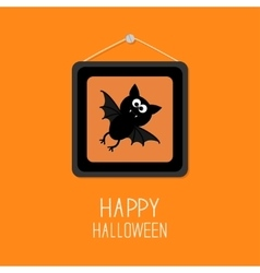 Bat in picture frame on nail happy halloween card vector