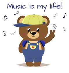 bear a brown musician in a baseball cap vector image