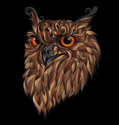 beautiful abstract owl with brown feathers vector image