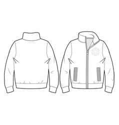 Blank sport sweatshirt with zip closure and pocket vector