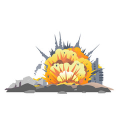 bomb explosion on ground vector image