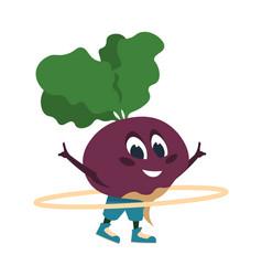 Cartoon beet doing fitness activities vegetable vector