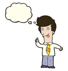 cartoon office man with crazy idea with thought vector image