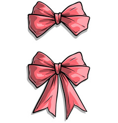 cartoon pink holiday bow knot icon set vector image