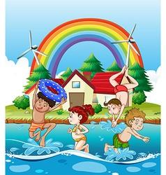 Children swimming in sea vector