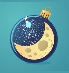 Christmas night cartoon moon in a vector