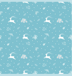 christmas seamless pattern with reindeers and fir vector image