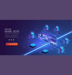 cloud services isometric composition big data vector image