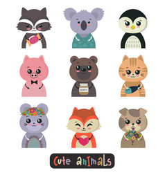 collection cute animals colorful funny vector image