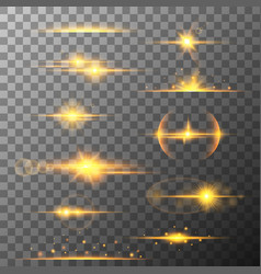 Collection different horizontal flare light vector