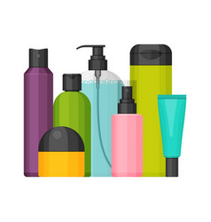 colorful cosmetic bottles set flat design vector image