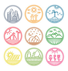 colorful round linear icons vector image