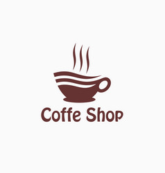 cup hot coffee logo design template vector image