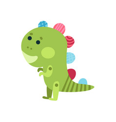 cute cartoon green dragon animal toy colorful vector image