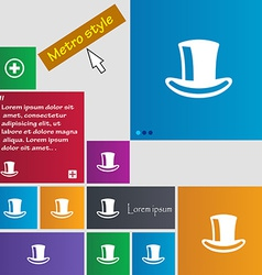 Cylinder hat icon sign Metro style buttons Modern vector