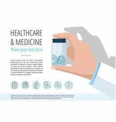 doctors hand showing pills bottle vector image