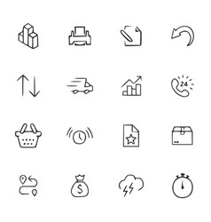 Doodle office icons set vector