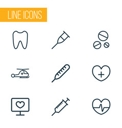drug icons line style set with thermometer crutch vector image