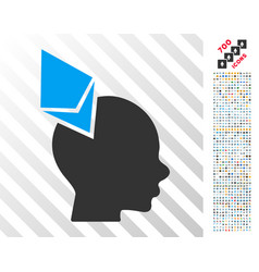 Ethereum penetrated head flat icon with bonus vector