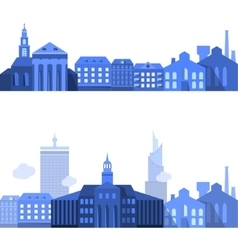 European Landscape Lines with Flat City Elements vector image