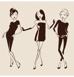 Fashion woman hand drawn vector