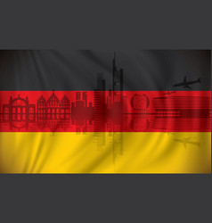 flag of germany with frankfurt skyline vector image