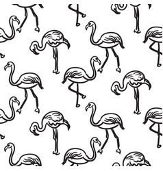 flamingo black outline sketch seamless vector image