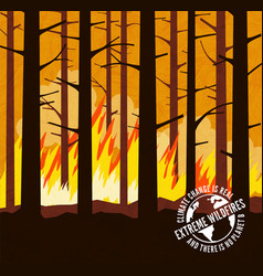 Forest wildfire signs climate change vector
