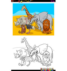 Funny wild animals characters group color book vector